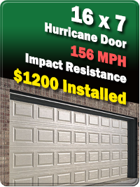 16 x 7 Hurricane Door 156 MPH Impact Resistance  $1200 Installed  | EAST COAST GARAGE DOORS | Brevard County, FL | Melbourne, Titusville, Merritt Island, Cocoa Beach, Indiatlantic, Mims, Viera